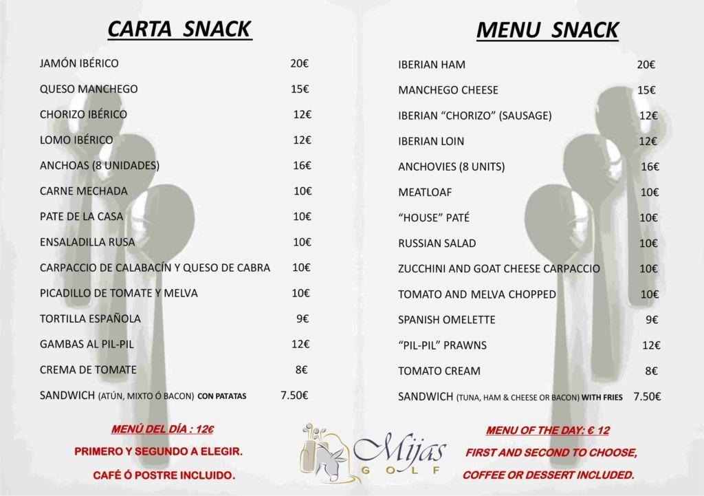 Carta - Snack - Mijas Golf