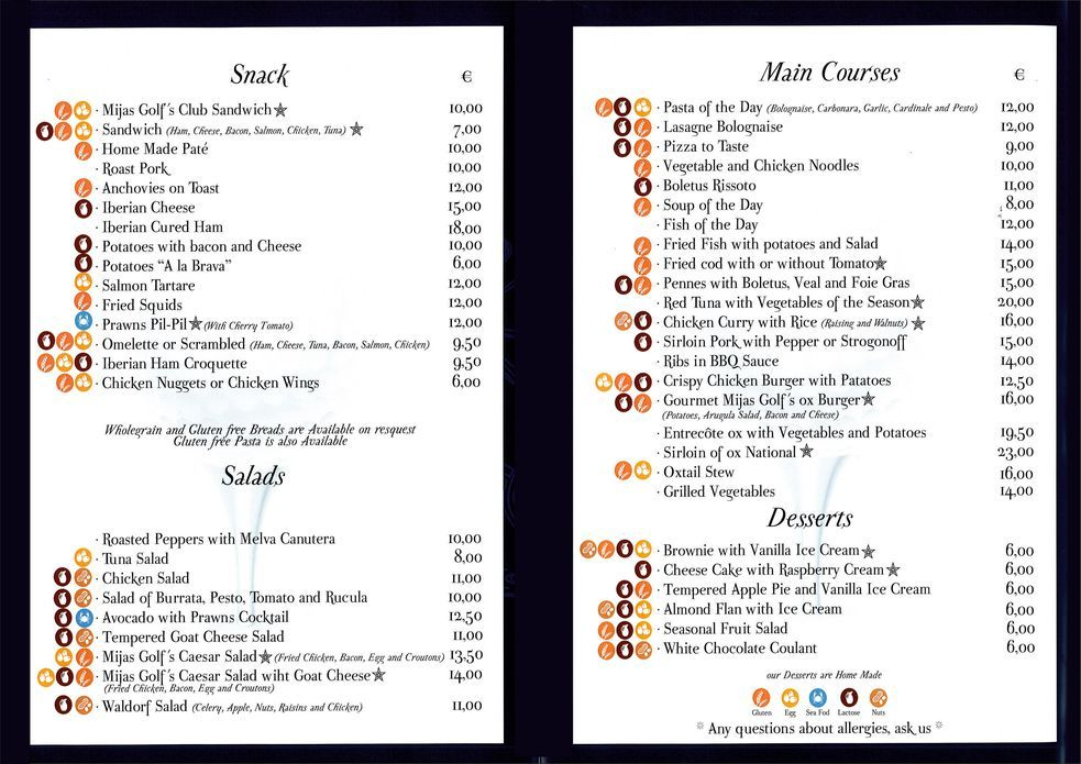 Mijas Golf Restaurant - La Carte