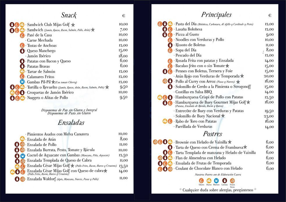 Mijas Golf Restaurante - La Carta